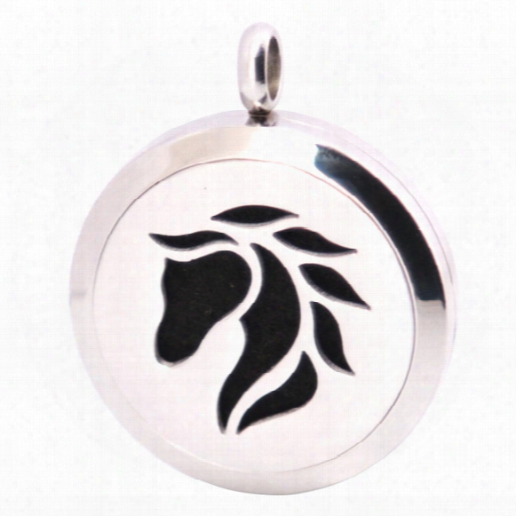 10pcs New Pattern Horse 30mm Aromatherapy Essential Oil Surgical Stainless Steel Necklace Pendant Perfume Diffuser Locket With Chain Pads