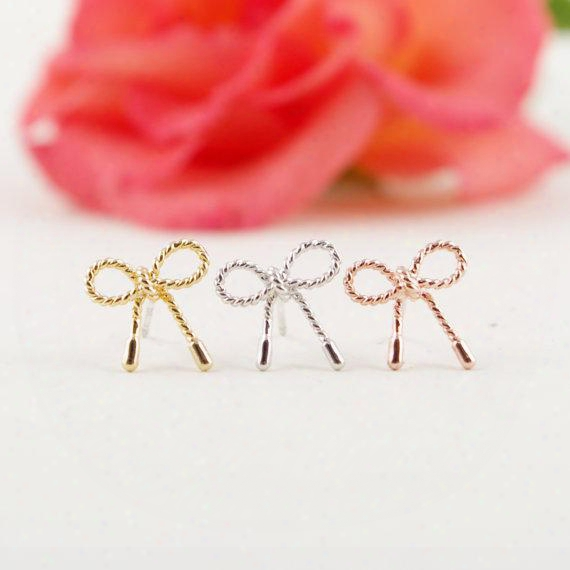 10pcs/lot Fashion Jewelry 2015 New Wholesale Gold Silver Pink Gold Little Twist Bow Stud Earrings Ed049