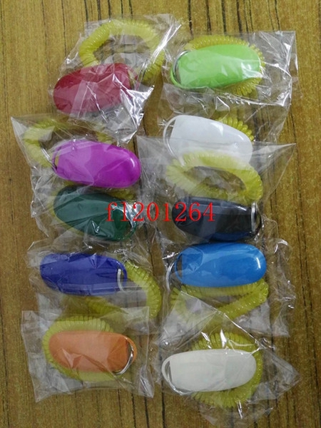 10pcs/lot Free Shipping Wholesale Fashion Dog Pet Click Clicker Training Trainer Aid Wrist Mix Colors