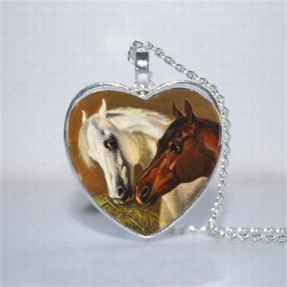10pcs/lot Horse Love Heart Pendant, Horse Jewelry, Horse Heart Necklace Glass Photo Cabochon Necklace