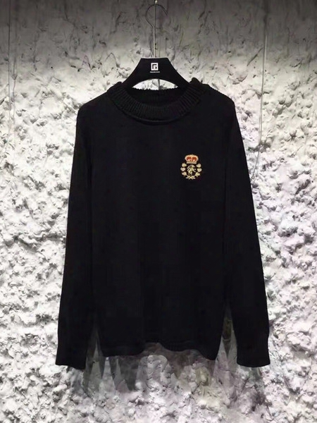 2016 Autumn And Winter Men Sweater Fashion Sweater Men's Long Sleeve Casual Sweatshirt Crown Lion Embroidery Sweater Men's Clothes