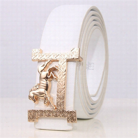 2017 Hot Sale New Fashion H Buckle High Quality Belts For Men Horse Style Genuine Leather Belt Silver Cowboys For Free Shipping