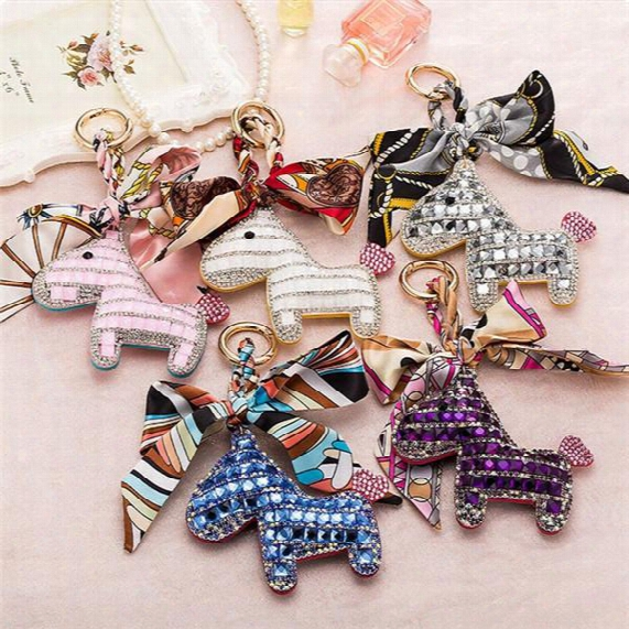 20pcs Fashion Cute Women's Bag&car Pendant High-end Handmade Scarf Leather Handbag Key Chains Tassel Rodeo Crystal Horse Bag Charm F692