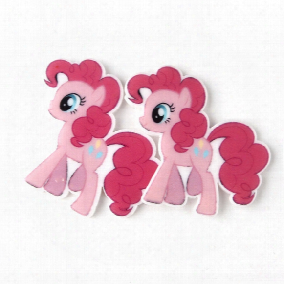 30pcs Cartoon My Little Horse Resin Planar Cabochons Flatback Resin Craft Diy Kids Girls Kawaii Jewelry Accessories