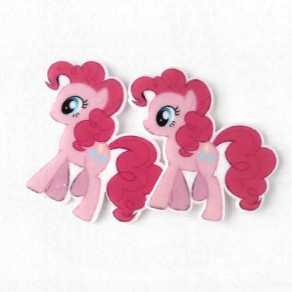 30pcs Cartoon My Little Horse Resin Planar Cabochons Flatback Resin Craft Diy Kids Girls Kawaii Jewelry Accessories