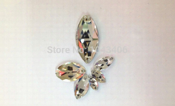 400pcs/lot Crystal Clear 6x12mm Navette Sew On Rhinestone Flatback Drop Water 2 Holes Horse Eye Crystal Beads