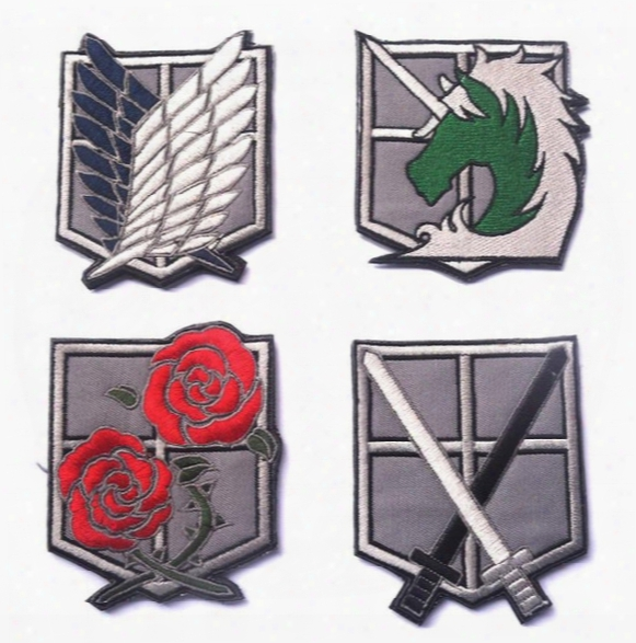 4pcs Attack On Titan Patch 3d Rose Embroidery Tactical Patches Horse Combat Badge Cloth Army Morale Sword Armband