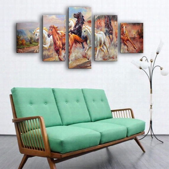 5 Pieces Canvas Paintings Art Large Running Horses Picture Painting On Canvas Print Modern Home Decorations Wall Art Animal Horse Painting