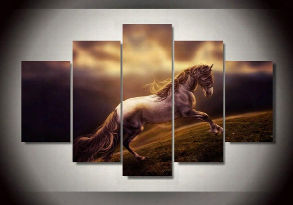 5pcs With Framed Printed Animal Horse Group Painting Children's Room Decor Print Poster Picture Canvas Ny City Canvas Painting