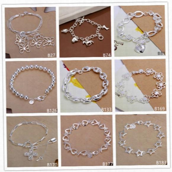 8 Pieces A Lot Mixed Style Fashion Hot Sale Women's Sterling Silver Bracelet, Horse's Hoof Five Butterfly Cross 925 Silver Bracelet Emb10