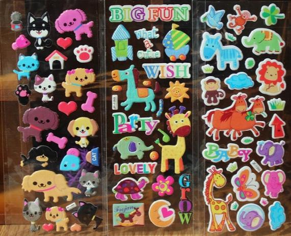 Animal Stickers For Kids Kawaii Animal Stickers Cat Dog Horse Giraffe... Zoo Kids Stickers Puffy Sticker Kids Rewards Party Supply