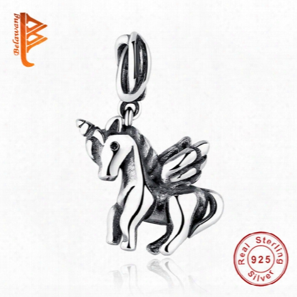 Belawang European Free Spirit Horse Pendant 925 Sterling Silver Charms Bead Fit Original Bracelet Necklace For Women Diy Jewelry Making