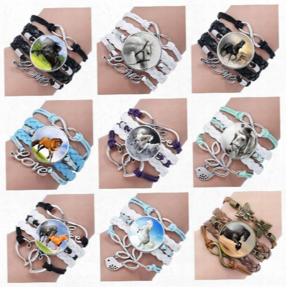 Brand New Selling Horse Gem Glass Bracelet Hand-woven Multi-layer Leather Bracelet Fb144 Mix Order 20 Pieces A Lot Charm Bracelets