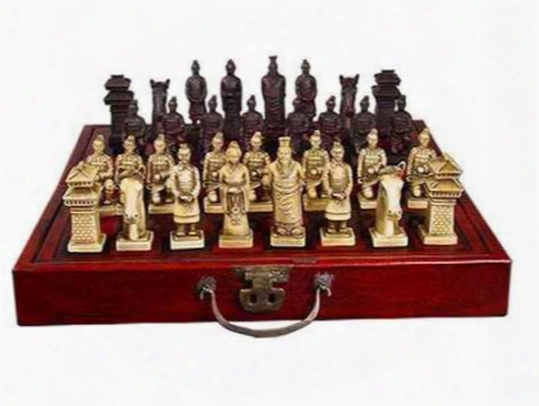 Collectibles 32 Pieces Warriors Horses Chess Set With Folding Leather Wood Box