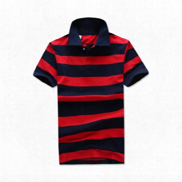 Designer Polo T Shirts Mens Fashion Small Horse Brand Red Black Striped Short Sleeve Polos Fashion Embroidery Usa American Flag T Shirt