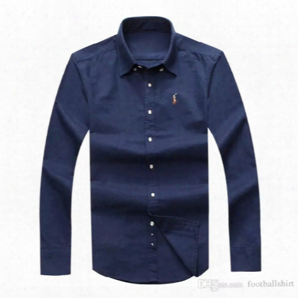 Drop Shipping 2017 Autumn Men's Long Sleeved Slim Fit Shirts Men Usa Brand Polo Shirts Fashion 100% Oxford Casual Shirt Small Horse Clothes