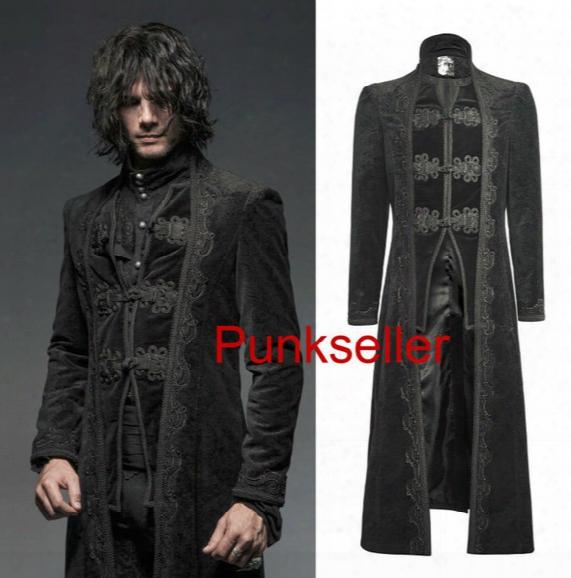 Fall-punk Motorcycle Mens Coat Long Black Velvet Gothic Steampunk Horseman Jacket Y651 S-xxxl
