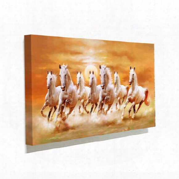 Famous White Horse Running Picture Canvas Painting Home Wall Art Picture For Living Room Unique Gift