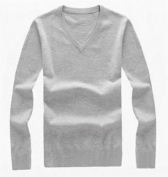 Fashion Branded Men's V-neck Winter Sweater Plain Knitting Cotton Pullover Mens Jumpers