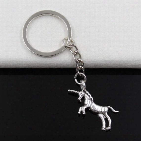 Fashion Diameter 30mm Key Ring Metal Key Chain Keychain Jewelry Antique Silver Plated Unicorn Horse 35*15mm Pendant