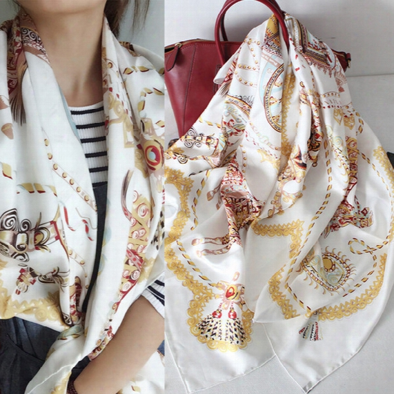 Fashion Horse+carriage Designs Women Big Square Shawl, 100% Mulberry Silk Twill Lady Scarf,high Qual Ity Women's Printed Scarves 135*135cm