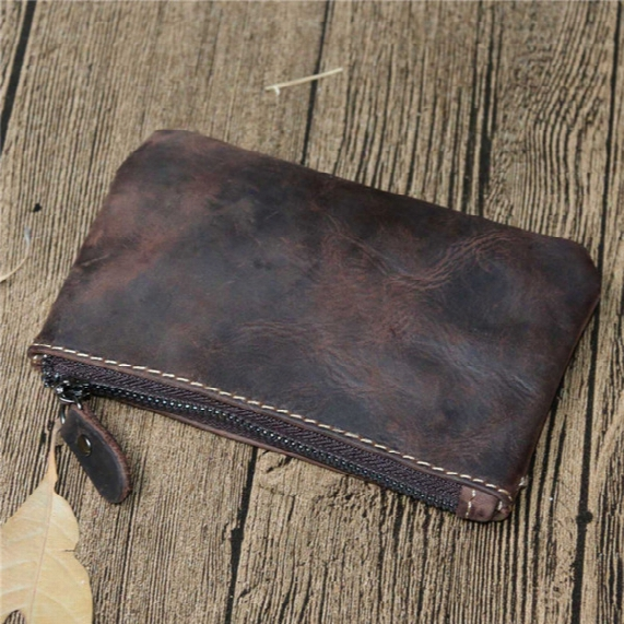 Free Shipping! Crazy Horse Genuine Leather Key Pouch Zip Wallet Coin Bag Wallets Women Men Designer Brand Mini Money Wallet Purse Bag