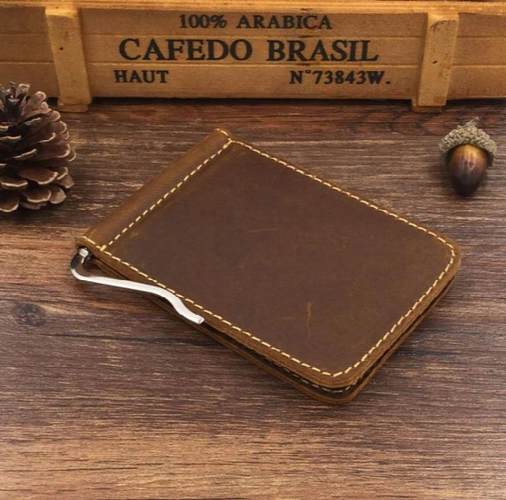 Genuine Leather Slim Mens Credit Card Wallet Money Clip Crazy Horse Simple Design New Men Bifold Wallets