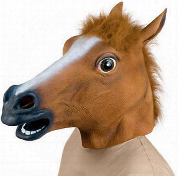 Halloween Party Latex Horse Head Mask High Quality Novelty Creepy Horse Head Latex Rubber Costume Theater Prop Party Mask Silicone Mask T235
