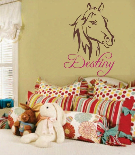 Horse Pretty Pony Wall Decal Personalize Name For Girls Room Decor