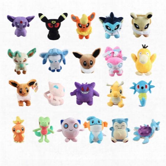 Hot ! 21pcs/lot Poke Mudkip Torchic Charmander Bulbasaur Jigglypuff Eevee Psyduck Snorlax Pikachu Horsea Gengar Plush Doll Toy 12-18cm