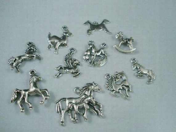 Hot ! Tibetan Silver Mix Horse Charm Beads Fit European Bracelet Diy (z018)