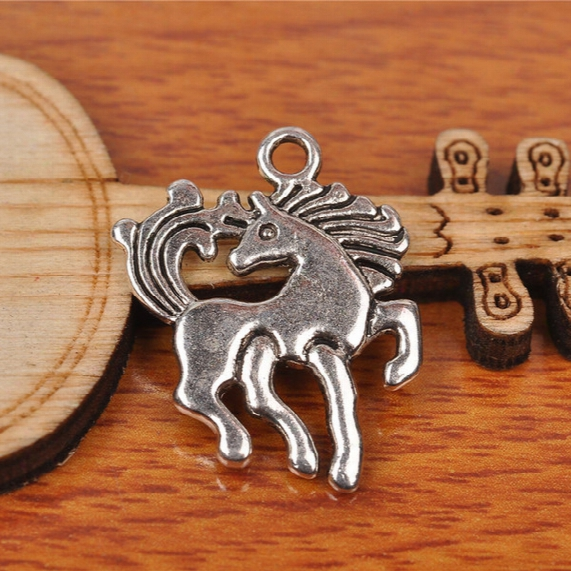 Hualu 7238 100 Pieces 23*19mm Lovely Horse Connecter Charms Tibetan Silver Diy Jewelry Pendant Making Fingding Necklace Bracelet Eaarring