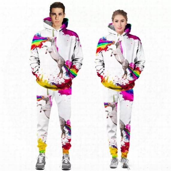 Men And Women Rainbow Unicorn Hoodie Sweatshirt + Joggers Pants Horse Print Hoody Unisex Tracksuits Outfit Sweatpants Set