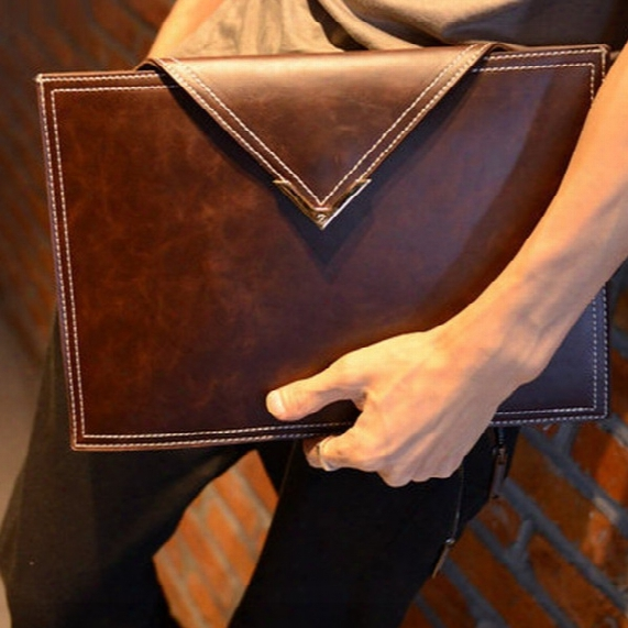 Men Crazy Horse Leather Envelope Bag Briefcase Portfolio Clutch Bags Vintage Handbags Fashion Business Brown Black Style