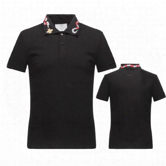 New Arrival 2017 Brand Men Fashion Short Polo Snake Adornment Casual Camisetas Masculinas Plus Size M-3xl Horse Polo Shirt Brand