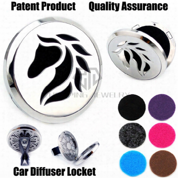 New Arrival Silver Horse (38mm) Magnet Diffuser Car Aromatherapy Locket Free Pads Essential Oil 316 Stainless Steel Car Diffuser Lockets