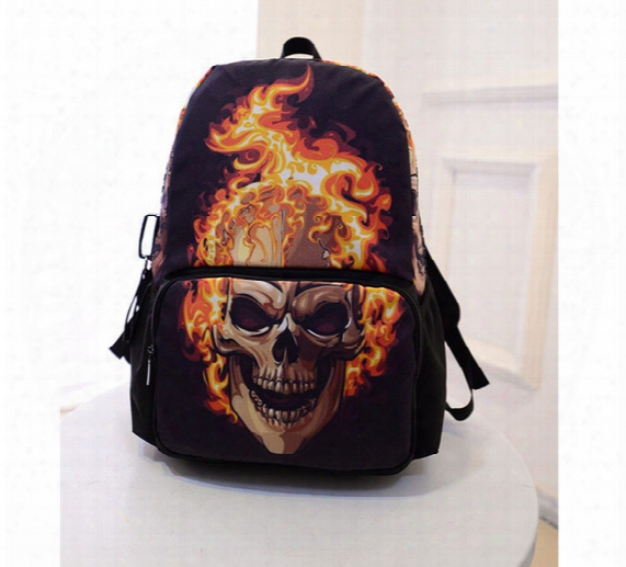 New Canvas Ghost Rider Backpack Schol Bags For Teenagers,boys 3d Backpack Cool Skull Men's Backpacks,college Students Bagpack