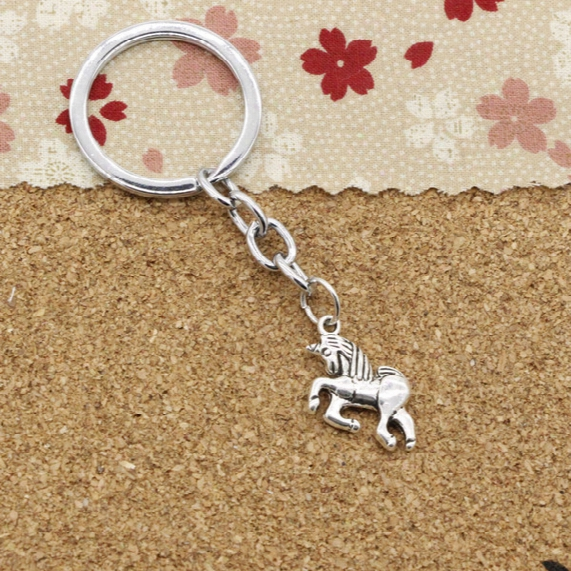 New Fashion 30mm Metal Key Ring Key Chain Jewelry Antique Silver Plated Horse Unicorn 19*16mm Pendant