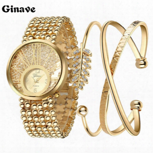 New Ladies Fashion Watches 18k Gold Bracelet Set Watch Is Very Stylish And Beautiful Show Woman's Charm