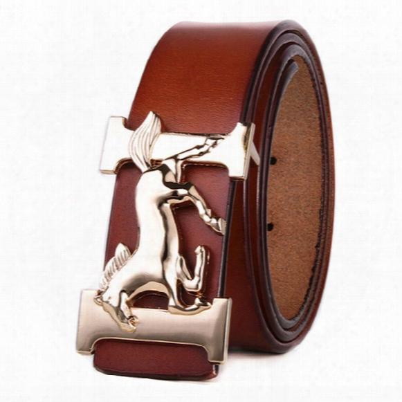New Men Designer Genuine Leather Belts High Quality Golden Horse Belt H Buckles Luxury Brand Designer Belt For Men Western Cowboy Cinturones