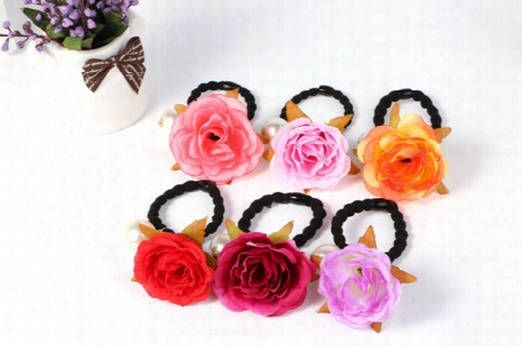 New Simulation Rose Flower Hair Band Hair Rings Korean Pearl Hair Accessories Cloth For Kids And Adult Headdress Lashing Horsetail Hair Rope
