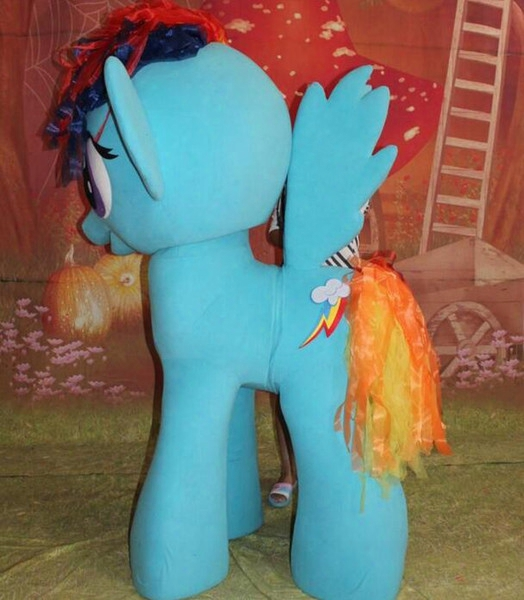 Oisk Custom Pony Horse Stand Up 4 Legged Rainbow Dash Mascot Costume Cartoon Character Full Body Suit Halloween Fancy Dress Brithday Gift