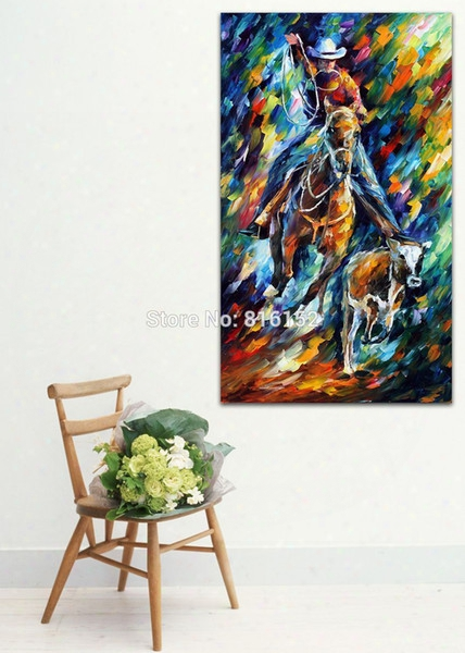 Palette Knife Oil Painting Man Rider Horse Cow Picture Printed On Canvas For Home Living Hotel Office Wall Art Decor