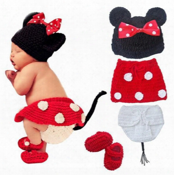 Retail Newborn Baby Girls Polka Dot Bow Hat + Knitted Skirt + Diaper Cover + Shoes Minnie Mouse Crochet Costume Outfit Set Photo Props 0-12m
