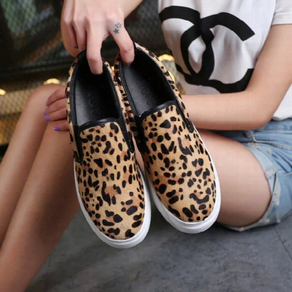 Sexy Leopard Horse Hair Genuine Leather Zapatos Mujer Casual Loafers Slip On Women Shoes Sz 35-40