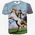 3D T shirts New Fashion Men/women t-shirt 3d print cat cavalier riding horse funny space galaxy t-shirt summer tees