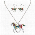 Enamel Rainbow Horse Charm Necklace Earring Sets Women Jewelry Silver Gold plated Enamel Jewelry Set Gift 161822
