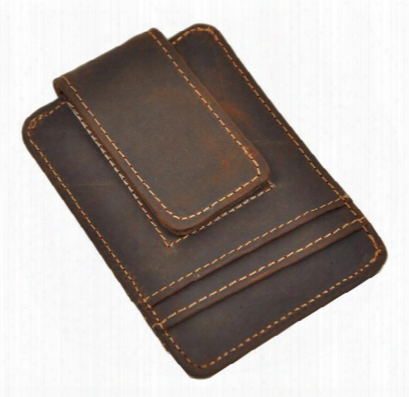 Top Quality Credit Card Id Holder Simple Design Magnet Men Wallet Money Clip Crazy Horse Leather Hot Sales Design European And American