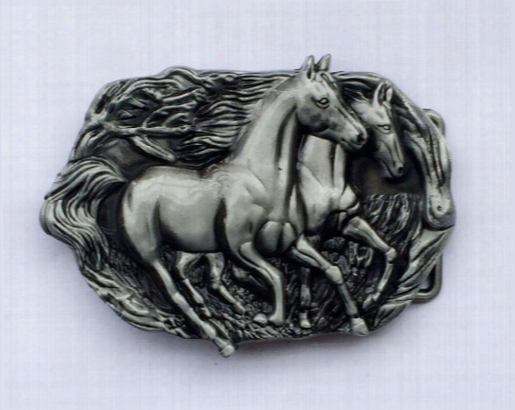 Two Running Horse Cowboy Belt Buckle Sw-by451 Suitable For 4cm Wideth Belt With Continous Stoock