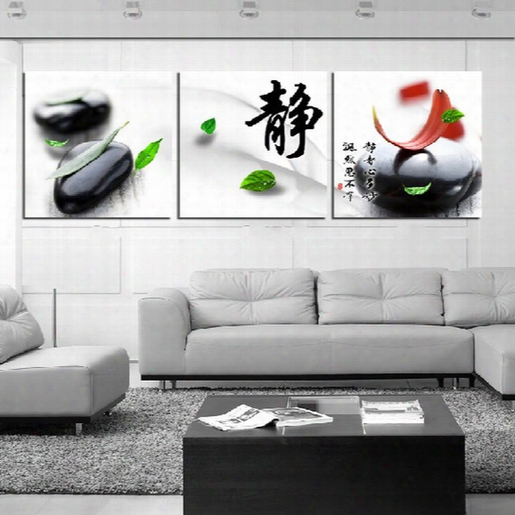 Unframed 3 Pieces Art Picture Wall Decoration Canvas Prints Abstract Color Oil Painting Chinese Characters Leaf Dandelion Tree Horse Flower